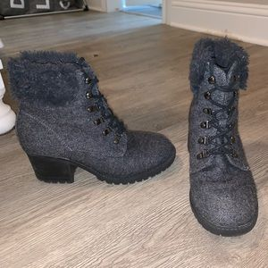 lace up gray booties